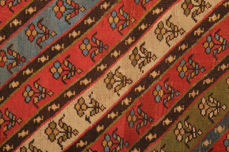 Kazak Rare Antique Rug Caucasian Striped Rug Handmade Carpet Shirvan Area Runner For Sale