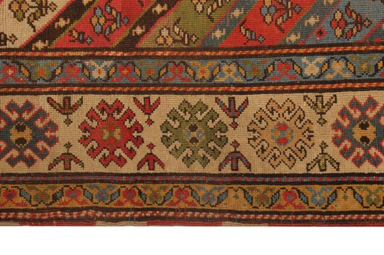 Hand-Woven Rare Antique Rug Caucasian Striped Rug Handmade Carpet Shirvan Area Runner For Sale