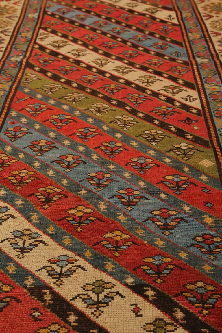 Rare Antique Rug Caucasian Striped Rug Handmade Carpet Shirvan Area Runner In Excellent Condition For Sale In Hampshire, SO51 8BY