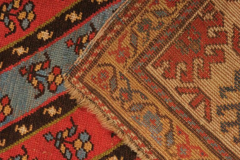 Late 19th Century Rare Antique Rug Caucasian Striped Rug Handmade Carpet Shirvan Area Runner For Sale