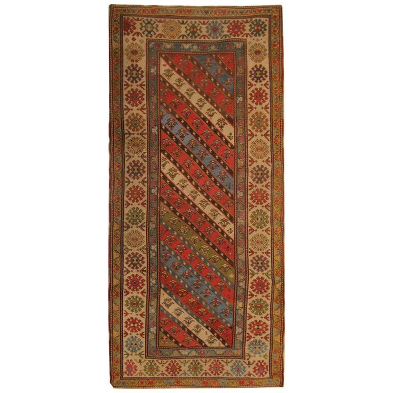 Rare Antique Rug Caucasian Striped Rug Handmade Carpet Shirvan Area Runner For Sale