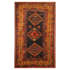 Rare Antique Rug Caucasian Oriental Rug Handmade Carpet from Kazak Area