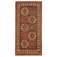 Rare Antique Rug Caucasian Oriental Rug Handmade Carpet from Kazak Area Rug