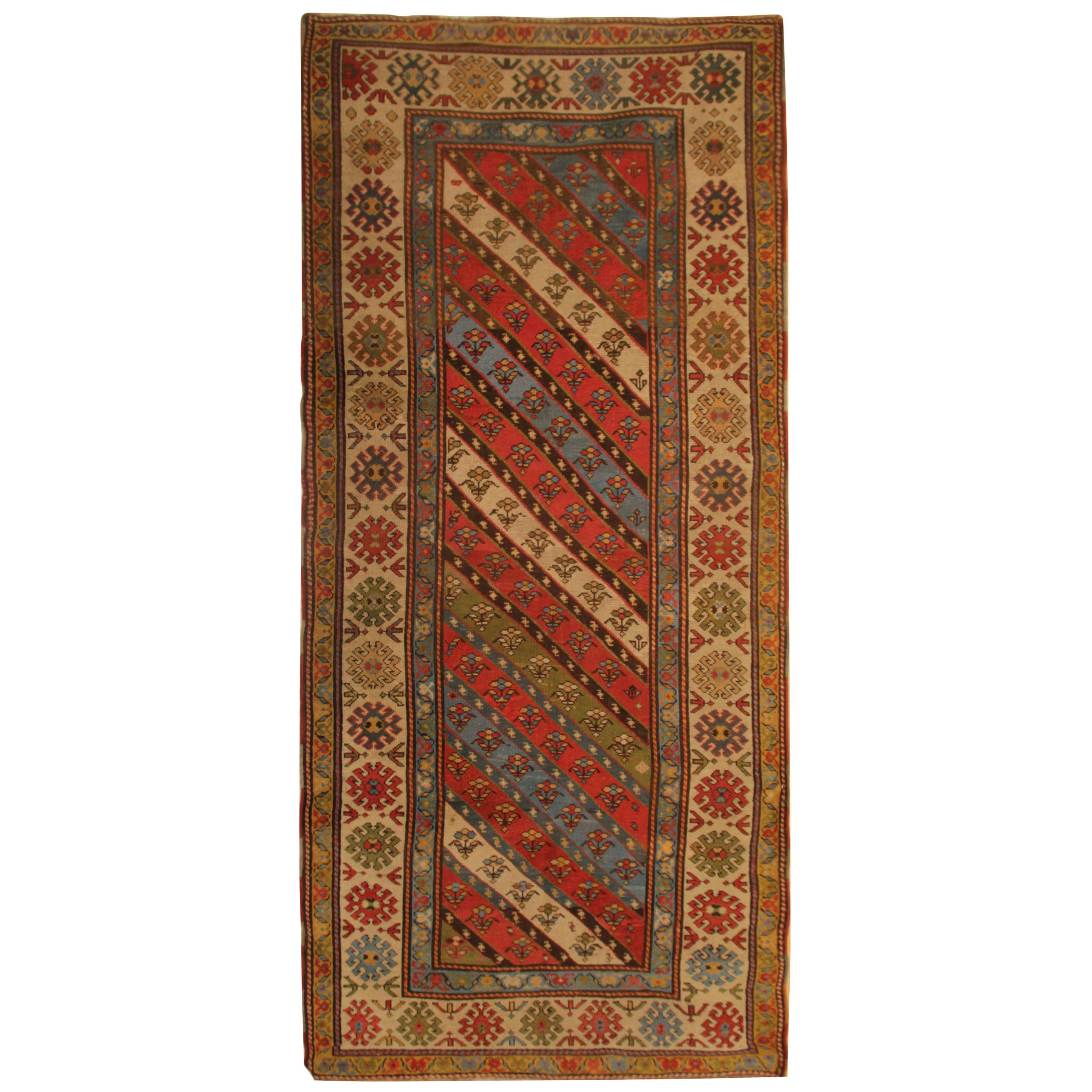 Rare Antique Rug Caucasian Oriental Rug Handmade Carpet Shirvan Area Runner