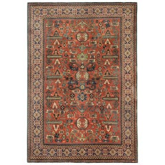 Rare Antique Rugs Caucasian Floor Rug from Yerevan, Oriental Rug Handmade Carpet