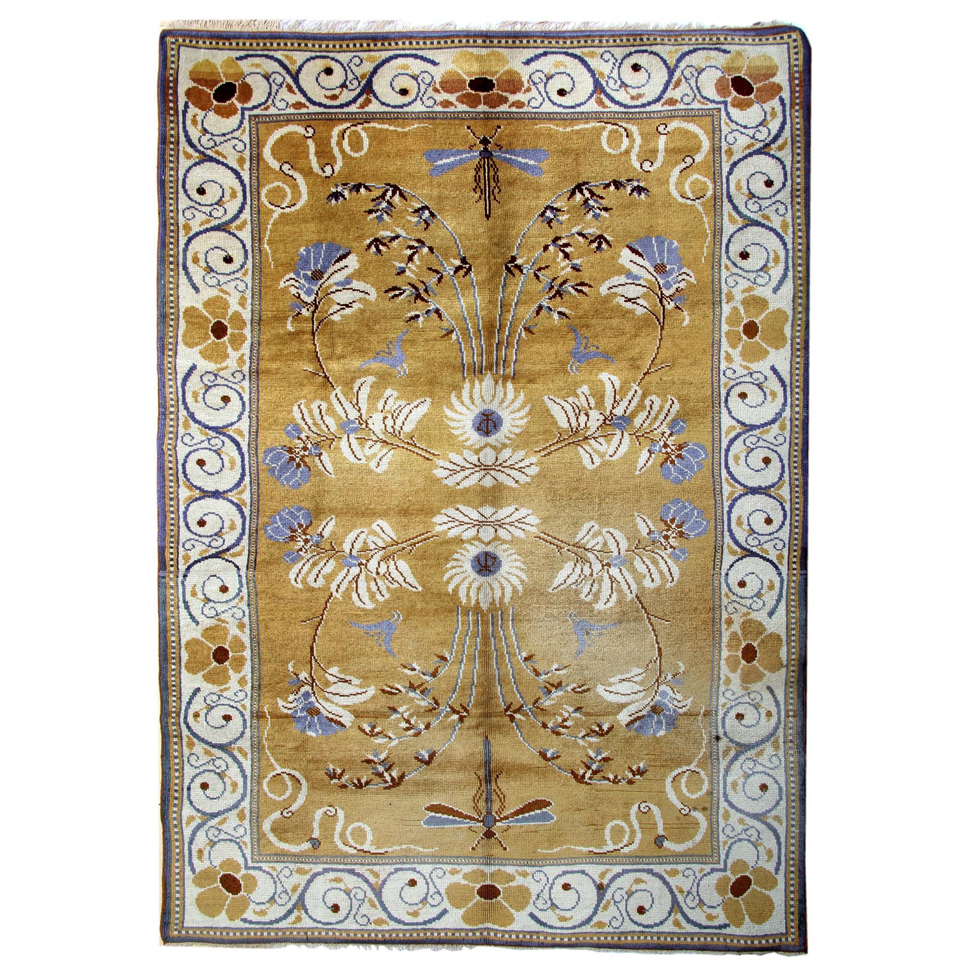 Rare Antique Rugs, Irish Floral Handmade Carpet Art Deco Design