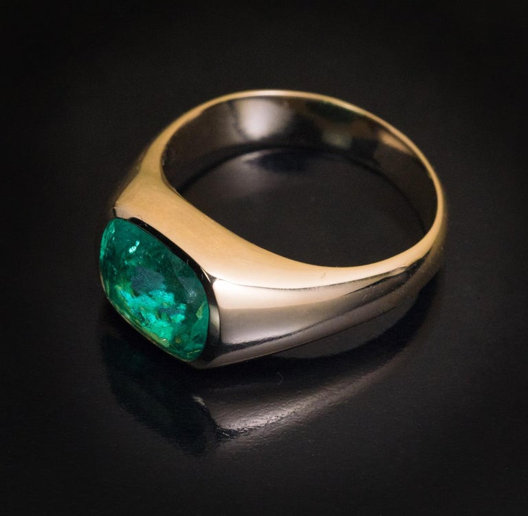 Art Deco Rare Antique Russian Emerald Gold Unisex Ring For Sale