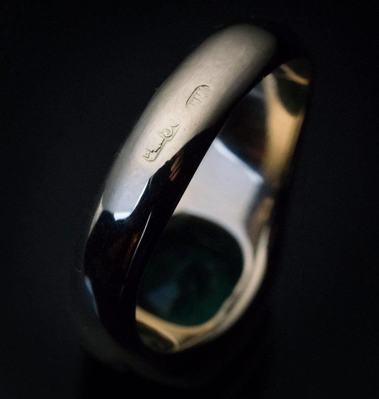 Women's or Men's Rare Antique Russian Emerald Gold Unisex Ring For Sale