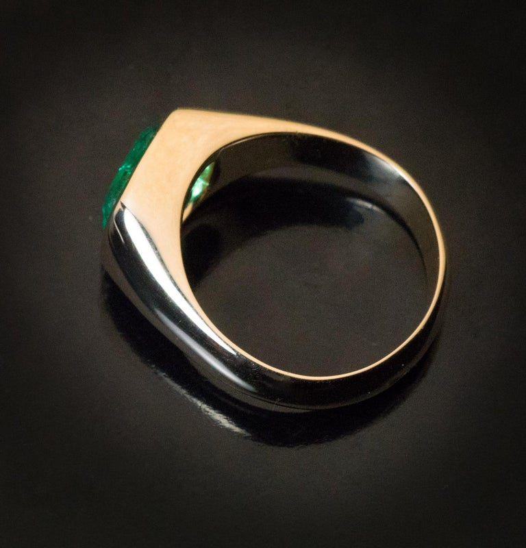 Rare Antique Russian Emerald Gold Unisex Ring For Sale 2