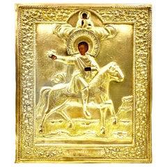 Rare Antique Russian Icon Saint Tryphon, Patron Saint of Wine Growers, Falconers