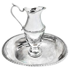 Rare Antique Russian Silver Ewer and Basin / Jug and Bowl, Moscow, 1786