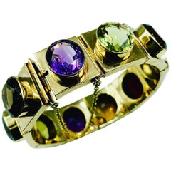 Rare Antique Scottish 14K Gold and Multicolored Gemstone Bracelet, 19th Century