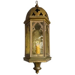 Rare Antique & Stylish Gothic Revival Brass Lantern with Cathedral Glass Windows