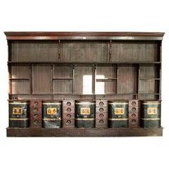 Rare Antique Tea Shop Counter/Huge Display Cabinet with Metal Bins, London, Engl