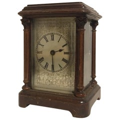 Rare Antique Timepiece Wooden Mantel / Carriage Clock