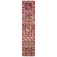 Rare Antique Tribal Kurdish Design Runner. Size: 3 ft 9 in x 15 ft
