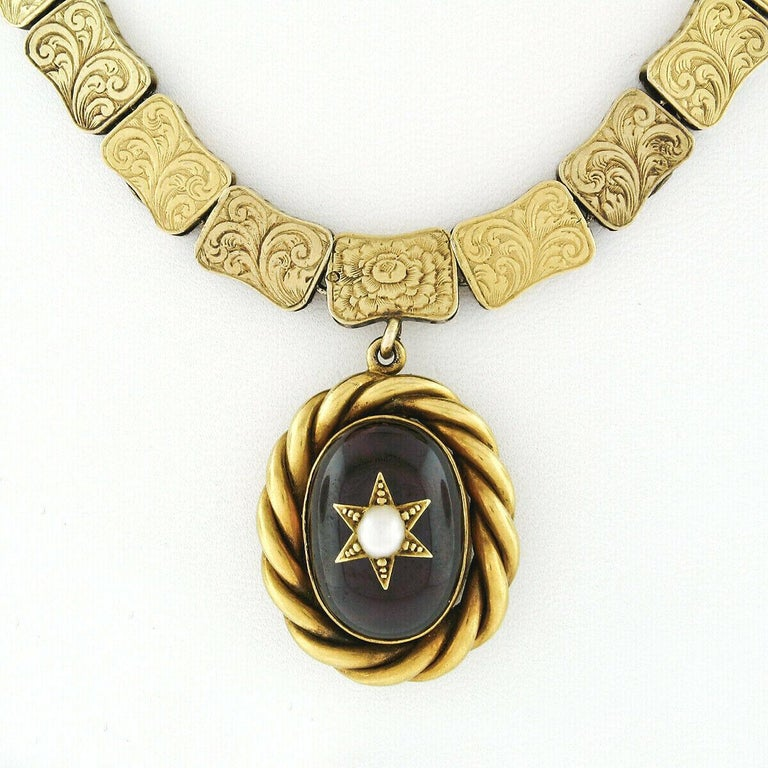 Rare Antique Victorian 18k Gold Cabochon Garnet Mourning Pendant Choker Necklace In Good Condition For Sale In Montclair, NJ