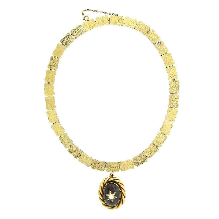Women's Rare Antique Victorian 18k Gold Cabochon Garnet Mourning Pendant Choker Necklace For Sale