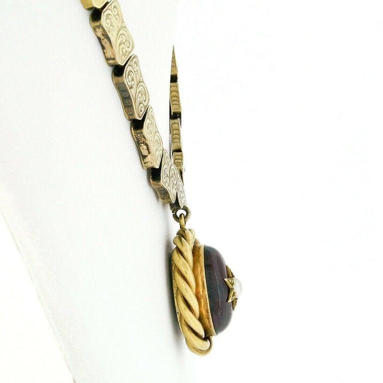 Rare Antique Victorian 18k Gold Cabochon Garnet Mourning Pendant Choker Necklace For Sale 2