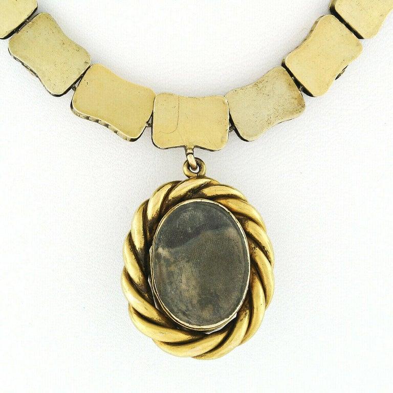 Rare Antique Victorian 18k Gold Cabochon Garnet Mourning Pendant Choker Necklace For Sale 4