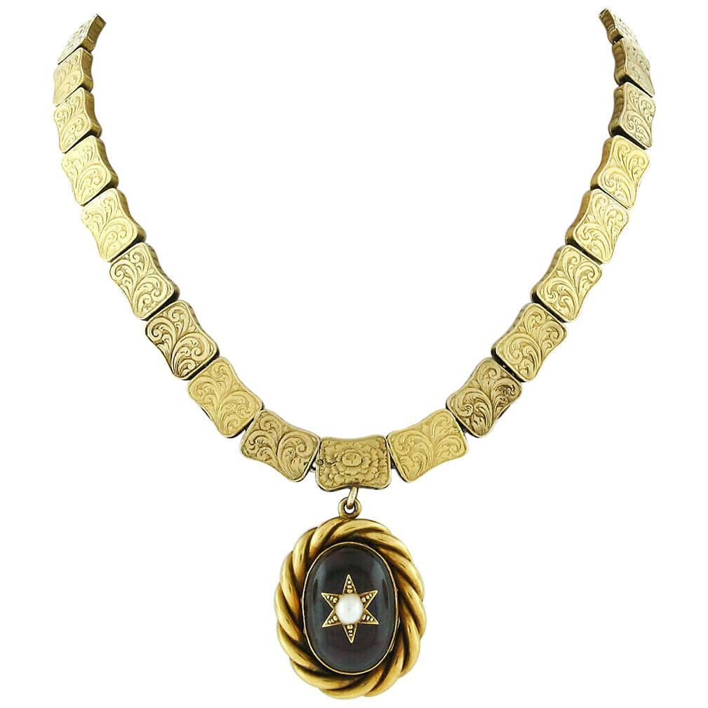 Rare Antique Victorian 18k Gold Cabochon Garnet Mourning Pendant Choker Necklace