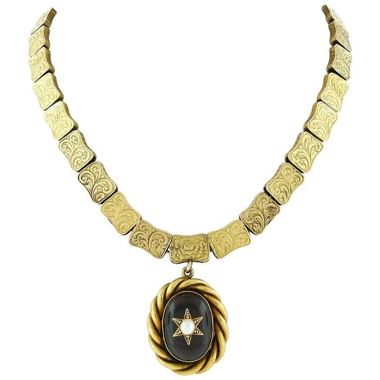 Rare Antique Victorian 18k Gold Cabochon Garnet Mourning Pendant Choker Necklace For Sale