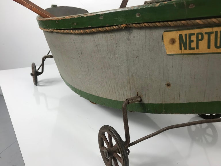 Rare Antique Wooden Child's Ride on Wooden Toy Boat by Nautilus Toy Co. London  For Sale 3