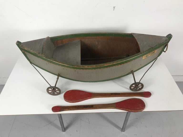 Folk Art Rare Antique Wooden Child's Ride on Wooden Toy Boat by Nautilus Toy Co. London  For Sale