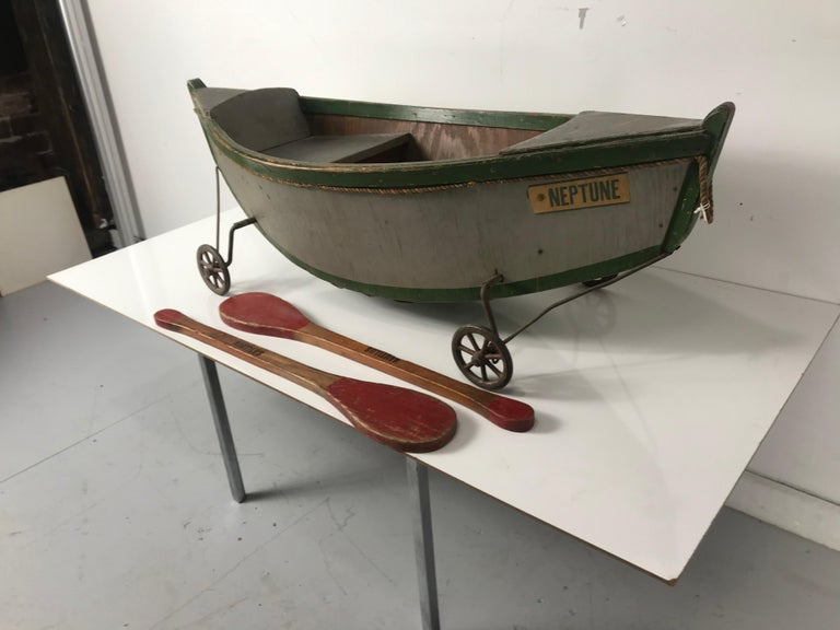 English Rare Antique Wooden Child's Ride on Wooden Toy Boat by Nautilus Toy Co. London  For Sale
