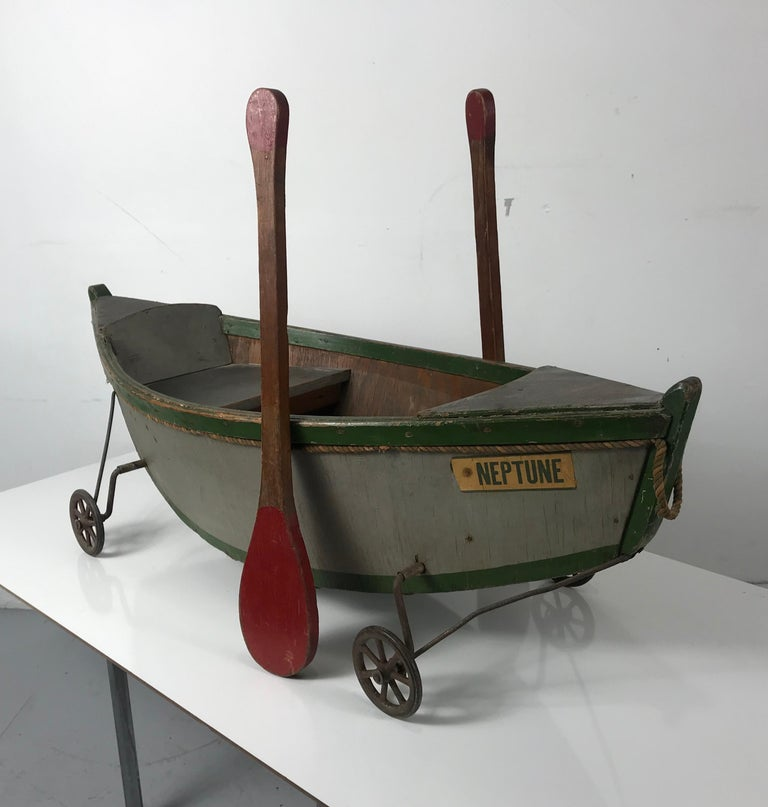 Early 20th Century Rare Antique Wooden Child's Ride on Wooden Toy Boat by Nautilus Toy Co. London  For Sale