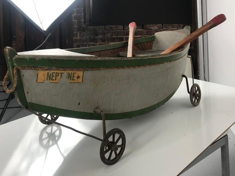 Rare Antique Wooden Child's Ride on Wooden Toy Boat by Nautilus Toy Co. London  For Sale 1