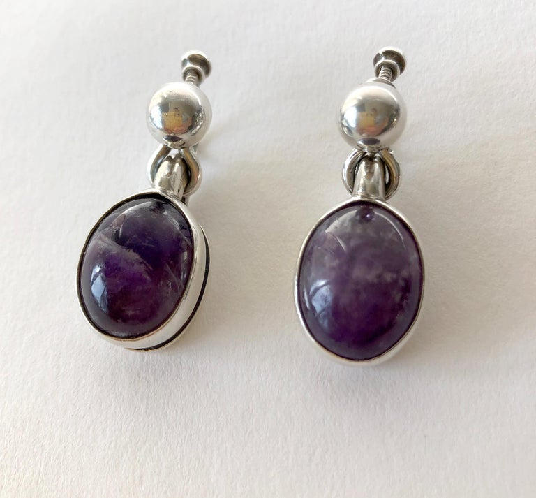 Oval Cut Rare Antonio Pineda Sterling Silver Amethyst Mexican Modernist Jewelry Suite For Sale