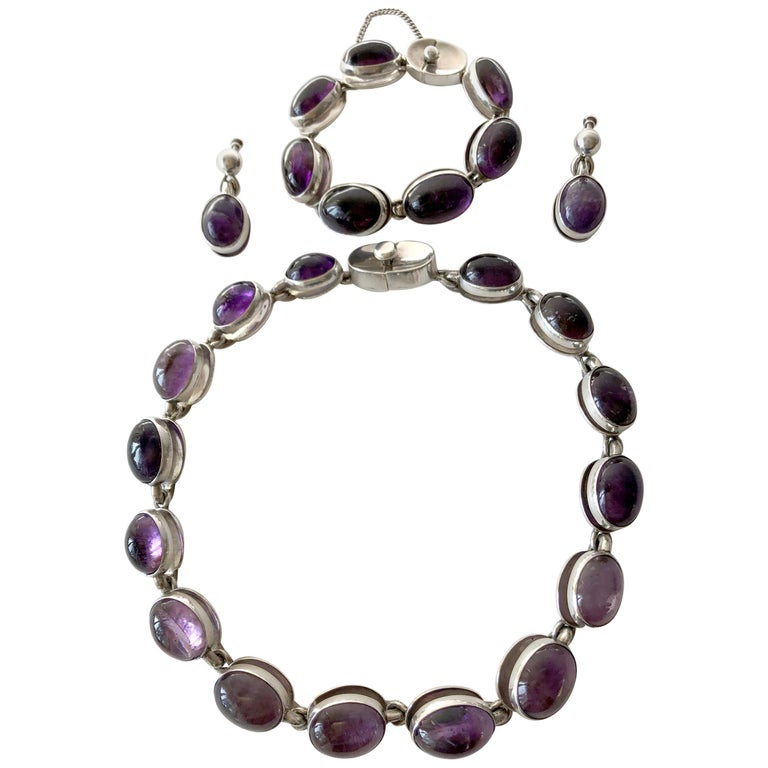 Rare Antonio Pineda Sterling Silver Amethyst Mexican Modernist Jewelry Suite For Sale