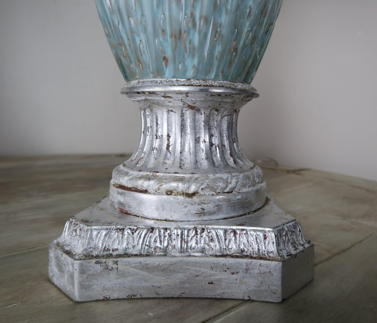 Rare Aquamarine Murano Lamps with Custom Parchment Shades, Pair For Sale 3