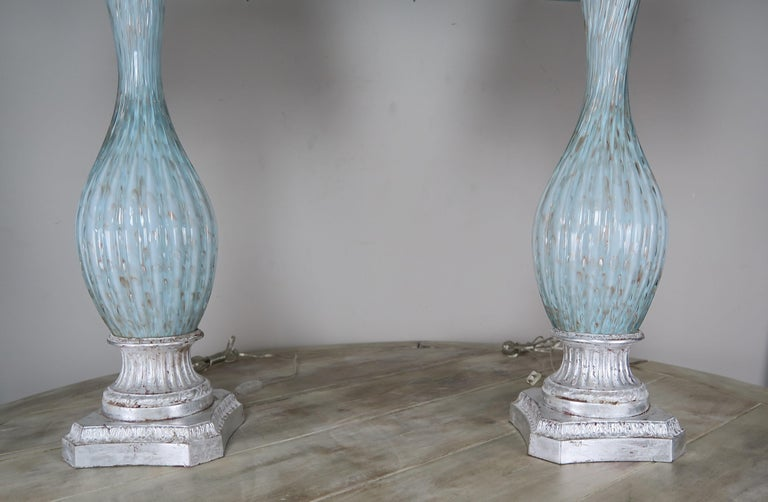 Mid-Century Modern Rare Aquamarine Murano Lamps with Custom Parchment Shades, Pair For Sale