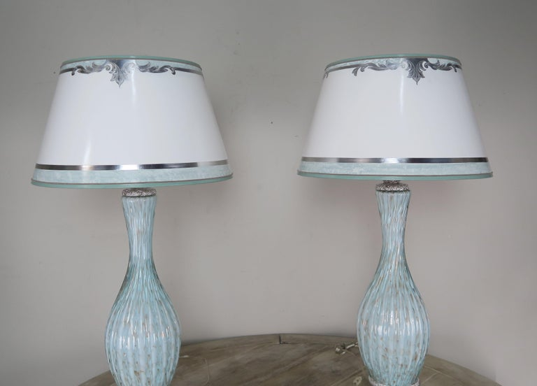 Italian Rare Aquamarine Murano Lamps with Custom Parchment Shades, Pair For Sale
