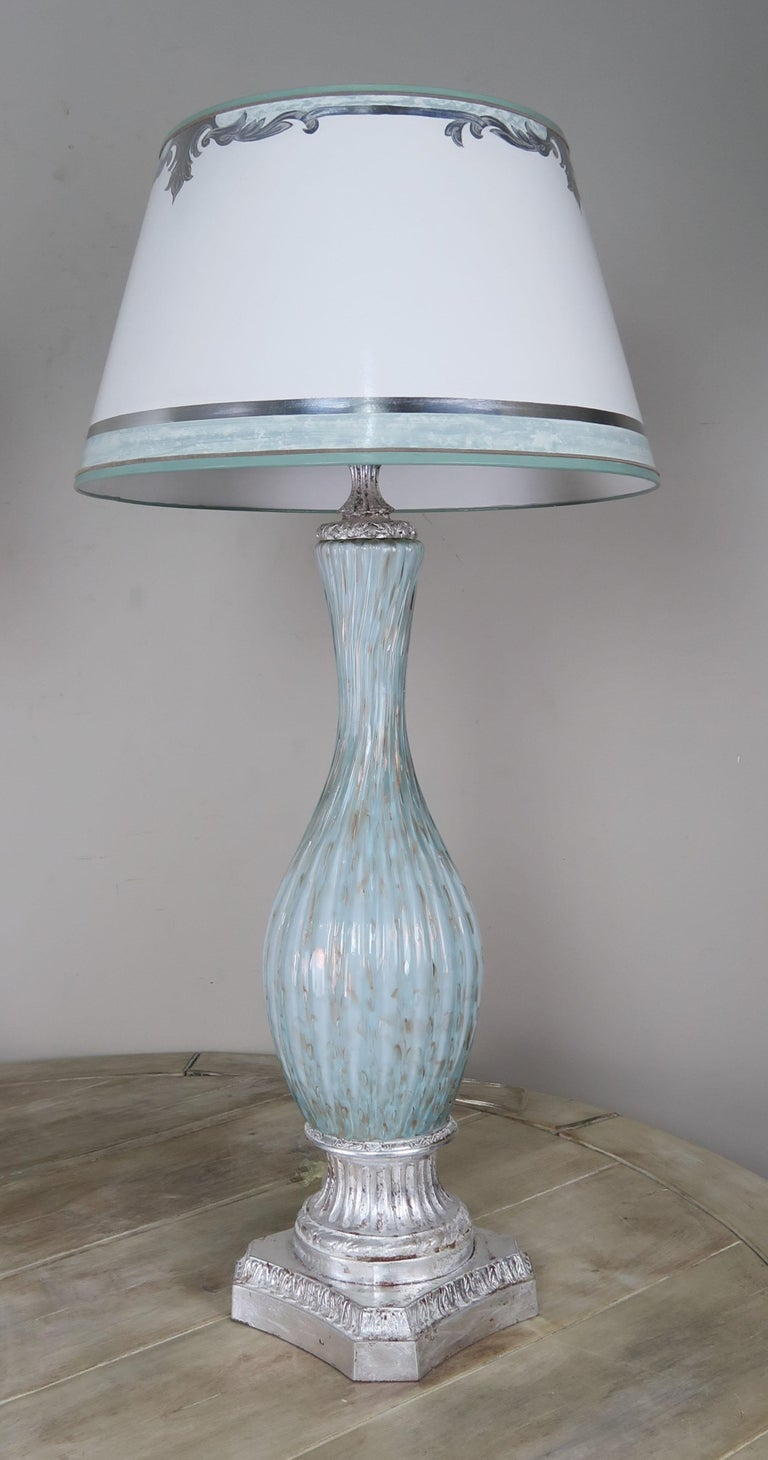 Mid-20th Century Rare Aquamarine Murano Lamps with Custom Parchment Shades, Pair For Sale