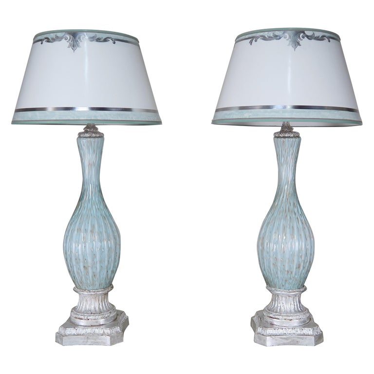 Rare Aquamarine Murano Lamps with Custom Parchment Shades, Pair For Sale