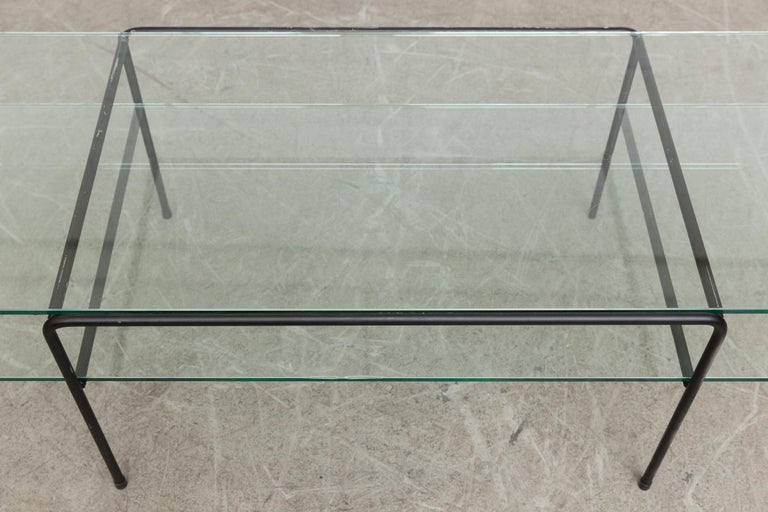 Enameled Rare A.R. Cordemeyer Glass and Metal Coffee Table for Gispen For Sale