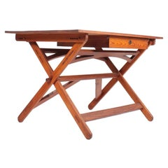 Rare Architect Table in Patinated Pine by Nartin Nyrop for Rud Rasmussen