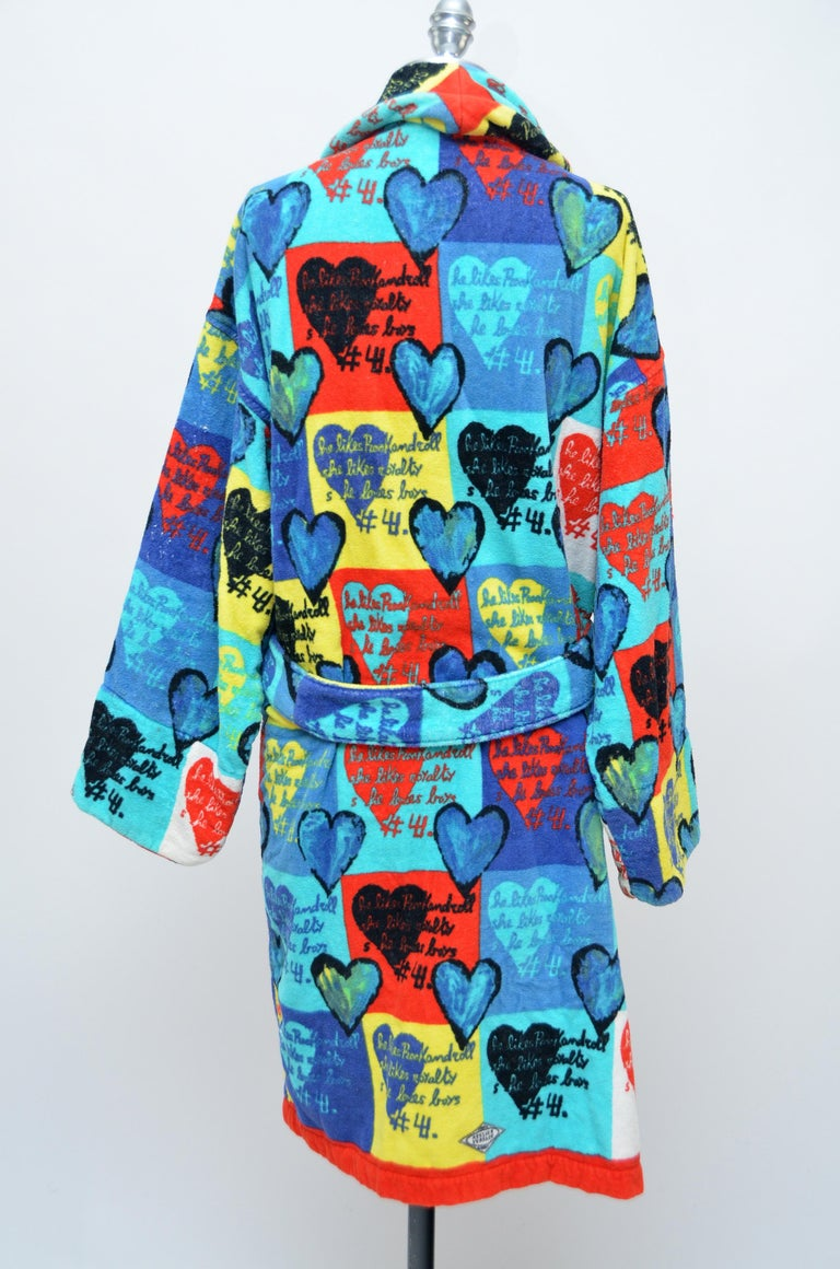 Gray Rare Archive GIANNI VERSACE Atelier Heart Print  Robe   M   For Sale
