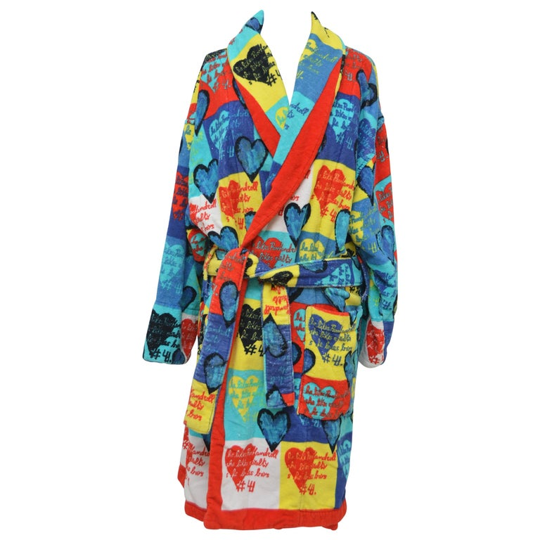 Rare Archive GIANNI VERSACE Atelier Heart Print  Robe   M   For Sale