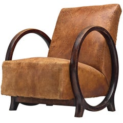 Rare Armchair by Jacques Adnet in Original Leather