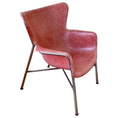 Rare Armchair Designed by Lawrence Peabody in Fiberglass & Chrome