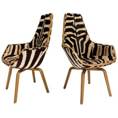 Rare Arne Jacobsen for Fritz Hansen Giraffe Chairs Restored in Zebra Hide, Pair