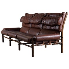 Rare Arne Norell Three-Seat Sofa Model Inca, 1970s