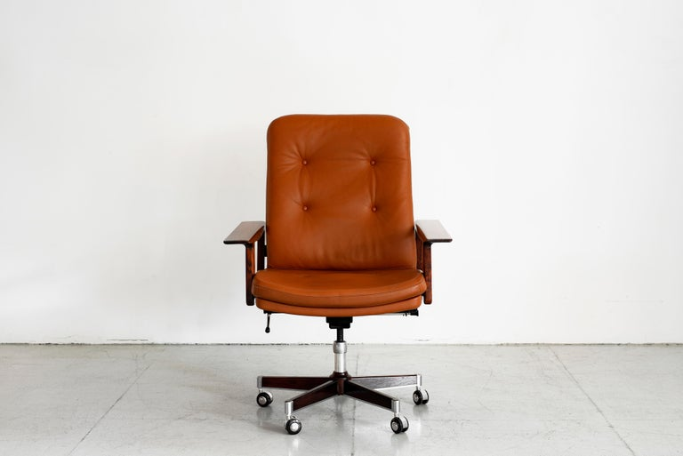 Leather Rare Arne Vodder Office Chair For Sale