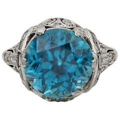 Rare Art Deco 11.0 Ct Natural Untreated Blue Zircon .90 Ct Diamond Platinum Ring