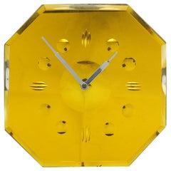 Rare Art Deco 1930s Daffodil Yellow Mirror Wall Clock
