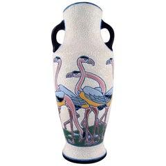 Rare Art Deco Amphora Vase in Glazed Ceramics with Flamingos, 1920s-1930s